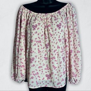 Alice Blue Floral Balloon Sleeve Top Blouse, S/M